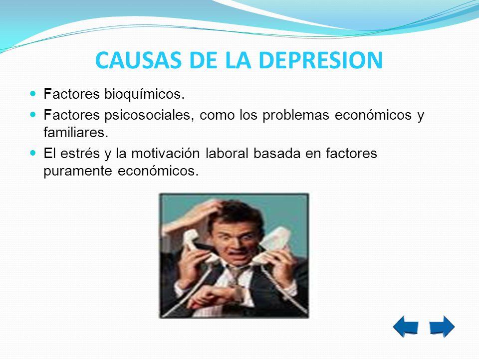 Factores bioquímicos. Factores psicosociales, como los problemas económicos y familiares. El estrés y la motivación laboral basada en factores puramen