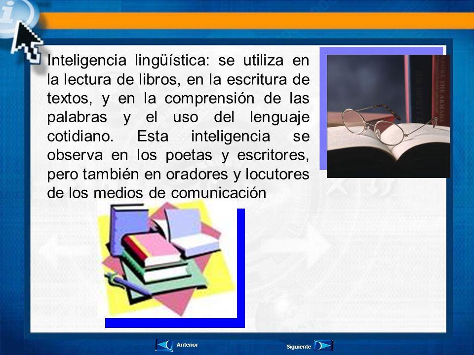 Inteligencia lingüística: se utiliza en la lectura de libros, en la escritura de textos, y en la comprensión de las palabras y el uso del lenguaje cot