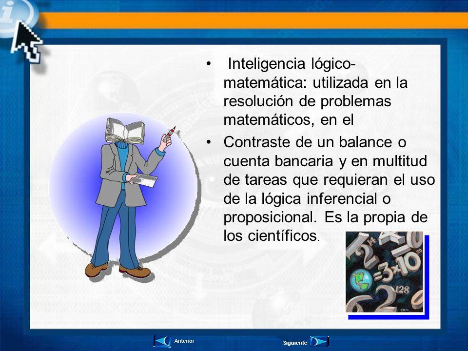 Inteligencia lógico- matemática: utilizada en la resolución de problemas matemáticos, en el Contraste de un balance o cuenta bancaria y en multitud de