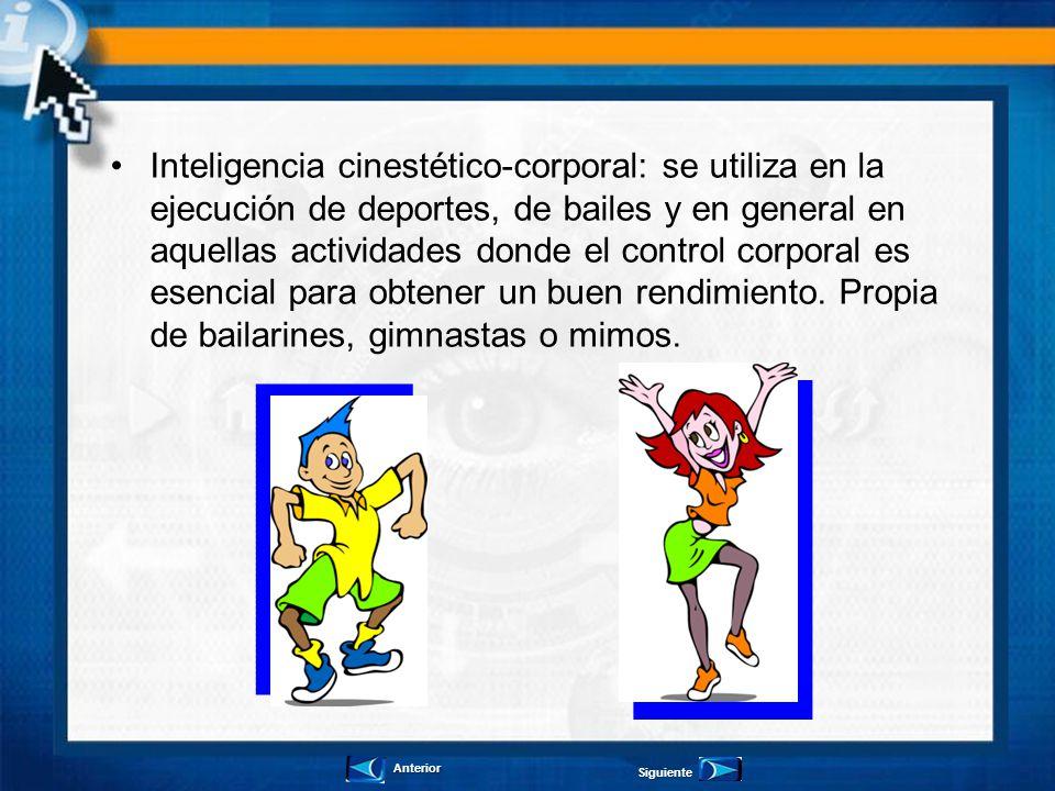 Inteligencia cinestético-corporal: se utiliza en la ejecución de deportes, de bailes y en general en aquellas actividades donde el control corporal es