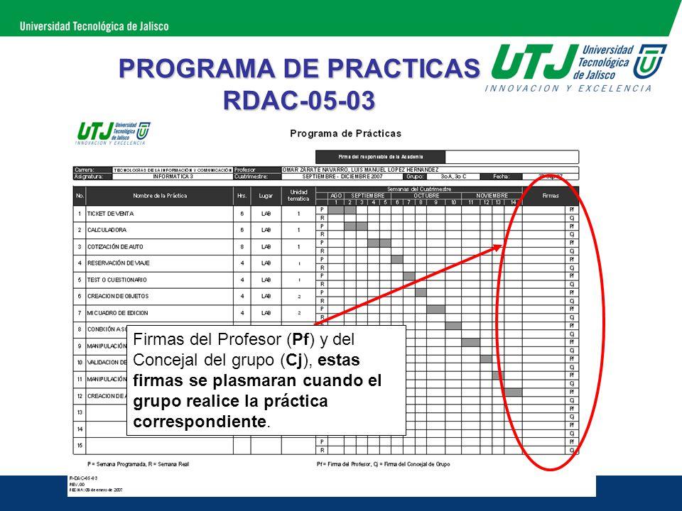 PROGRAMA DE PRACTICAS RDAC-05-03 Firmas del Profesor (Pf) y del Concejal del grupo (Cj), estas firmas se plasmaran cuando el grupo realice la práctica