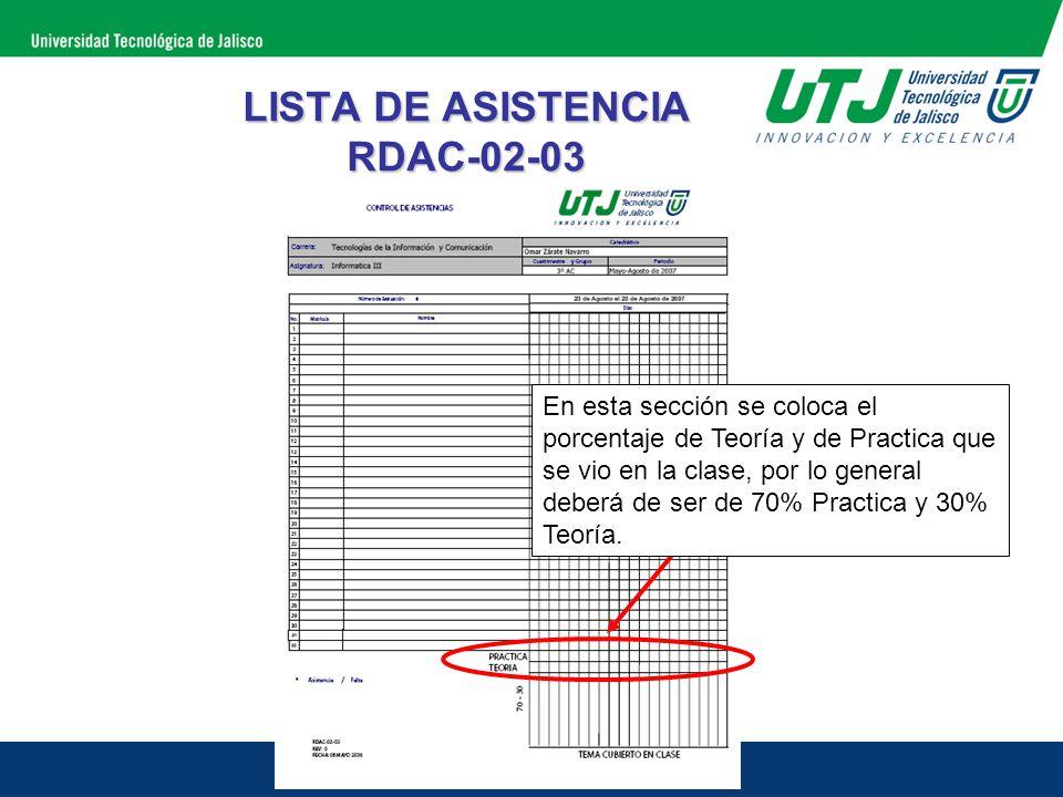 LISTA DE ASISTENCIA RDAC-02-03 En esta sección se coloca el porcentaje de Teoría y de Practica que se vio en la clase, por lo general deberá de ser de