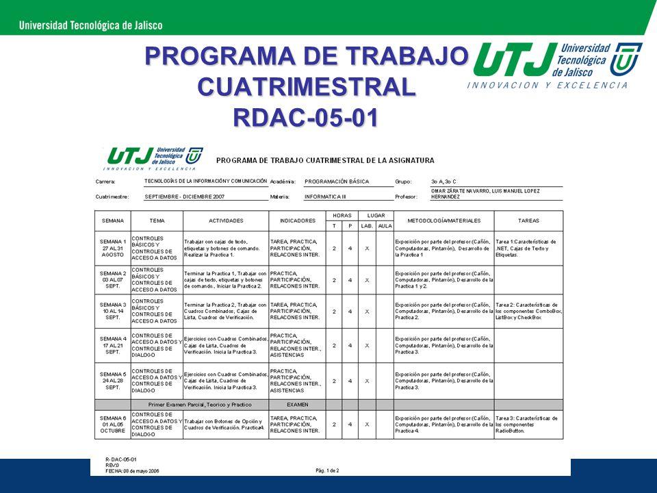 PROGRAMA DE TRABAJO CUATRIMESTRAL RDAC-05-01