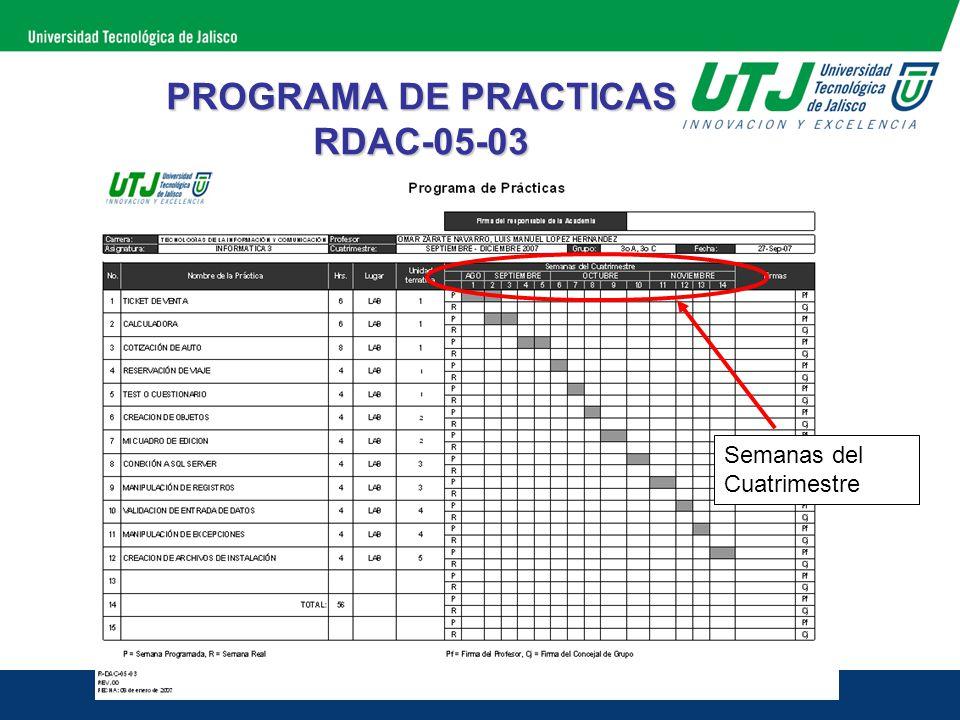 PROGRAMA DE PRACTICAS RDAC-05-03 Semanas del Cuatrimestre