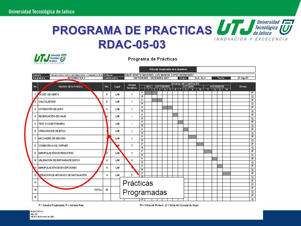 PROGRAMA DE PRACTICAS RDAC-05-03 Semana Programada o Estimada en el cuatrimestre para que el grupo realice la práctica correspondiente.