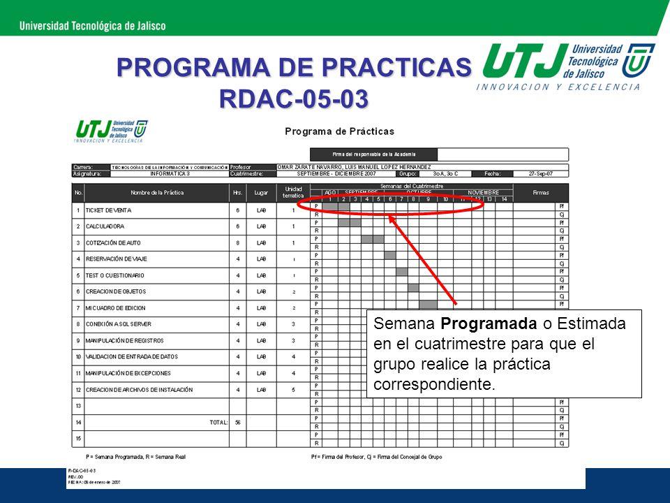 PROGRAMA DE PRACTICAS RDAC-05-03 Semana Real en que se realizó la práctica, estos cuadros se deberán de llenar por el profesor, en la semana que el grupo realizó la práctica.