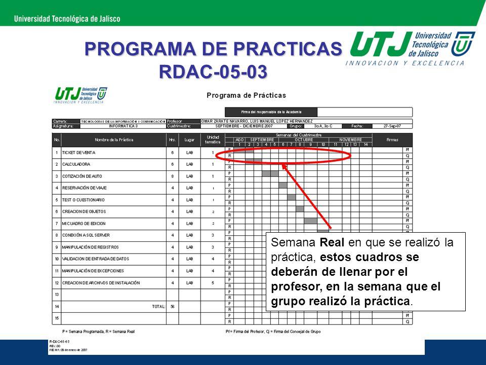 PROGRAMA DE PRACTICAS RDAC-05-03 Semana Real en que se realizó la práctica, estos cuadros se deberán de llenar por el profesor, en la semana que el gr