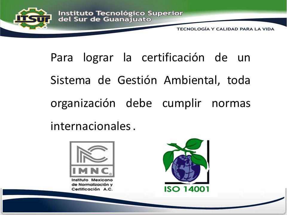 Para lograr la certificación de un Sistema de Gestión Ambiental, toda organización debe cumplir normas internacionales.