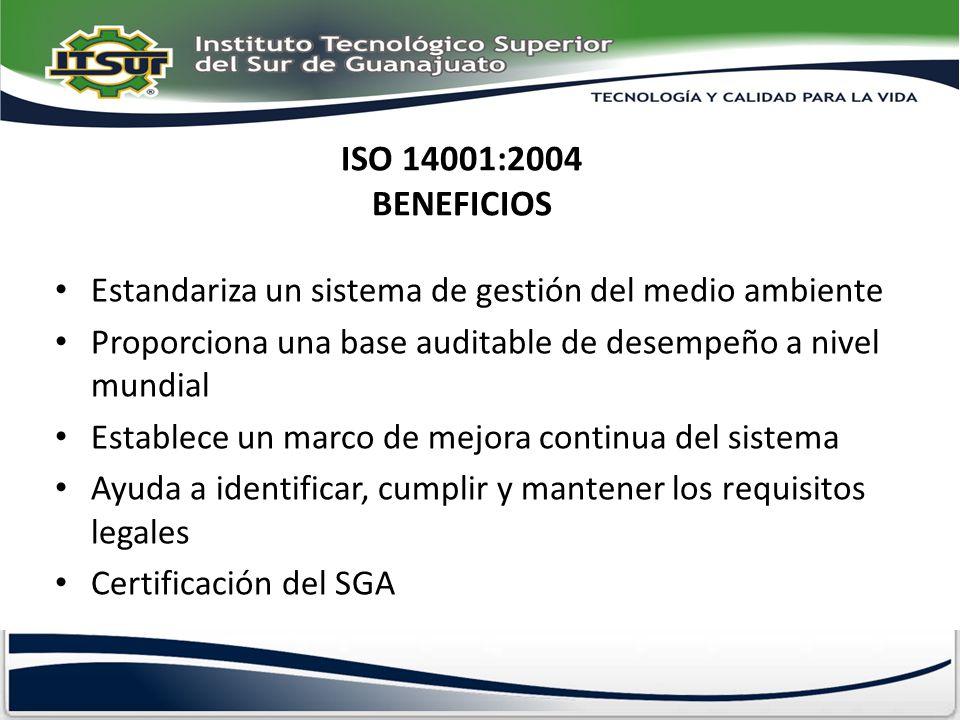ISO 14001:2004 BENEFICIOS Estandariza un sistema de gestión del medio ambiente Proporciona una base auditable de desempeño a nivel mundial Establece u