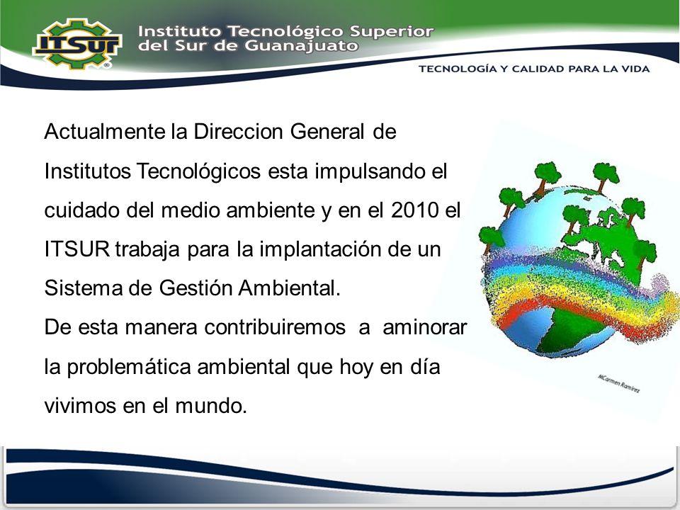 Actualmente la Direccion General de Institutos Tecnológicos esta impulsando el cuidado del medio ambiente y en el 2010 el ITSUR trabaja para la implan