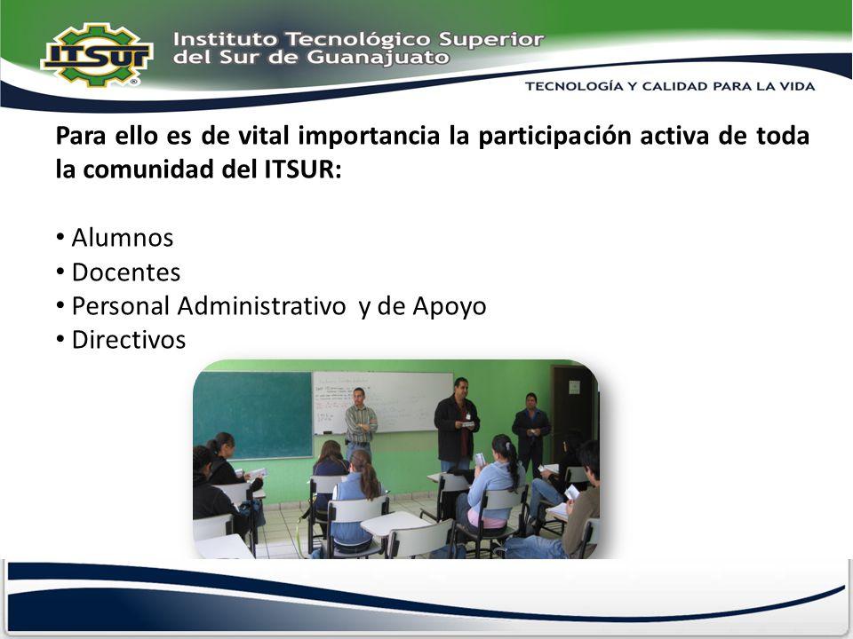 Para ello es de vital importancia la participación activa de toda la comunidad del ITSUR: Alumnos Docentes Personal Administrativo y de Apoyo Directiv