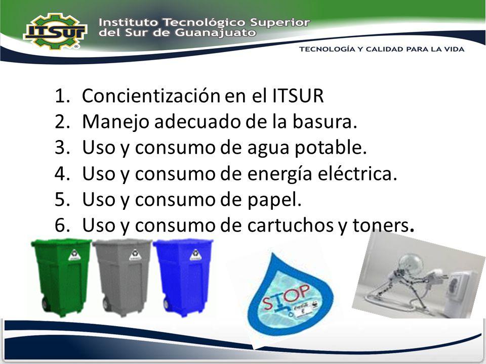 1.Concientización en el ITSUR 2.Manejo adecuado de la basura. 3.Uso y consumo de agua potable. 4.Uso y consumo de energía eléctrica. 5.Uso y consumo d