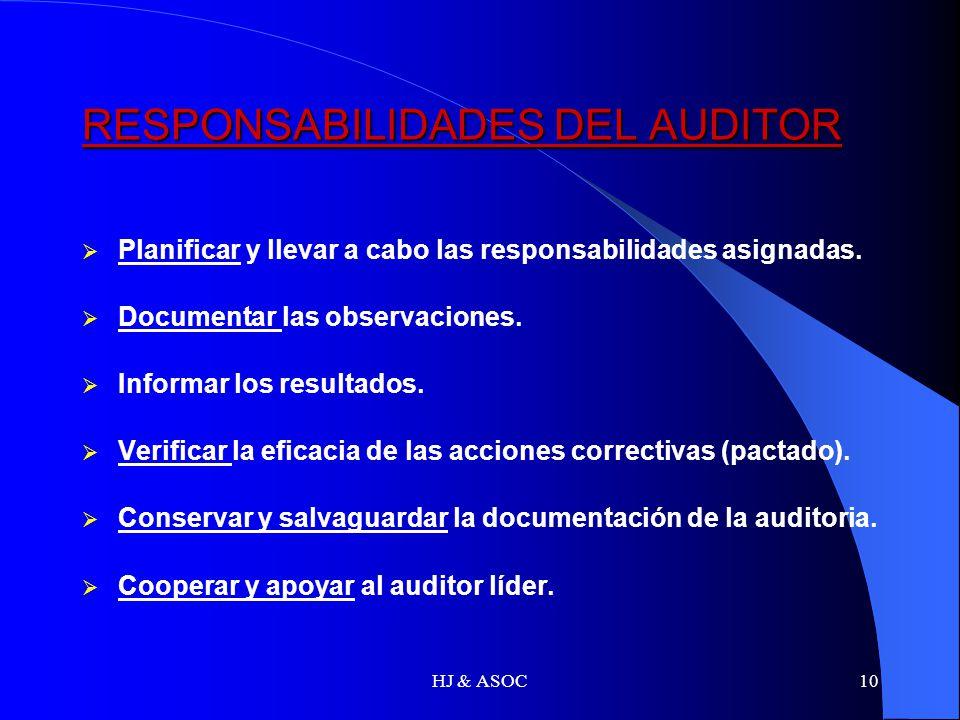 HJ & ASOC10 RESPONSABILIDADES DEL AUDITOR Planificar y llevar a cabo las responsabilidades asignadas. Documentar las observaciones. Informar los resul