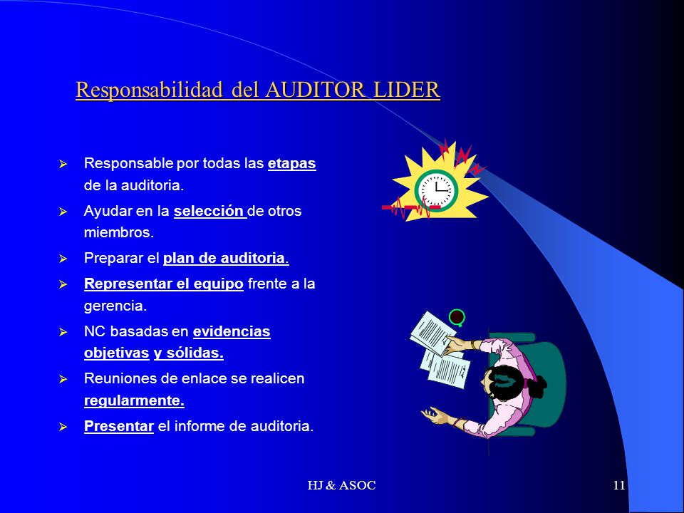 HJ & ASOC11 Responsabilidad del AUDITOR LIDER Responsabilidad del AUDITOR LIDER Responsable por todas las etapas de la auditoria. Ayudar en la selecci