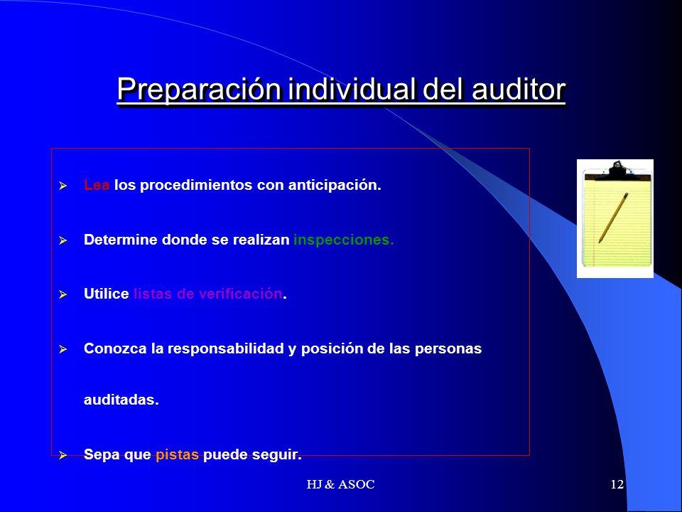 HJ & ASOC12 Preparación individual del auditor Lea los procedimientos con anticipación. Determine donde se realizan inspecciones. Utilice listas de ve