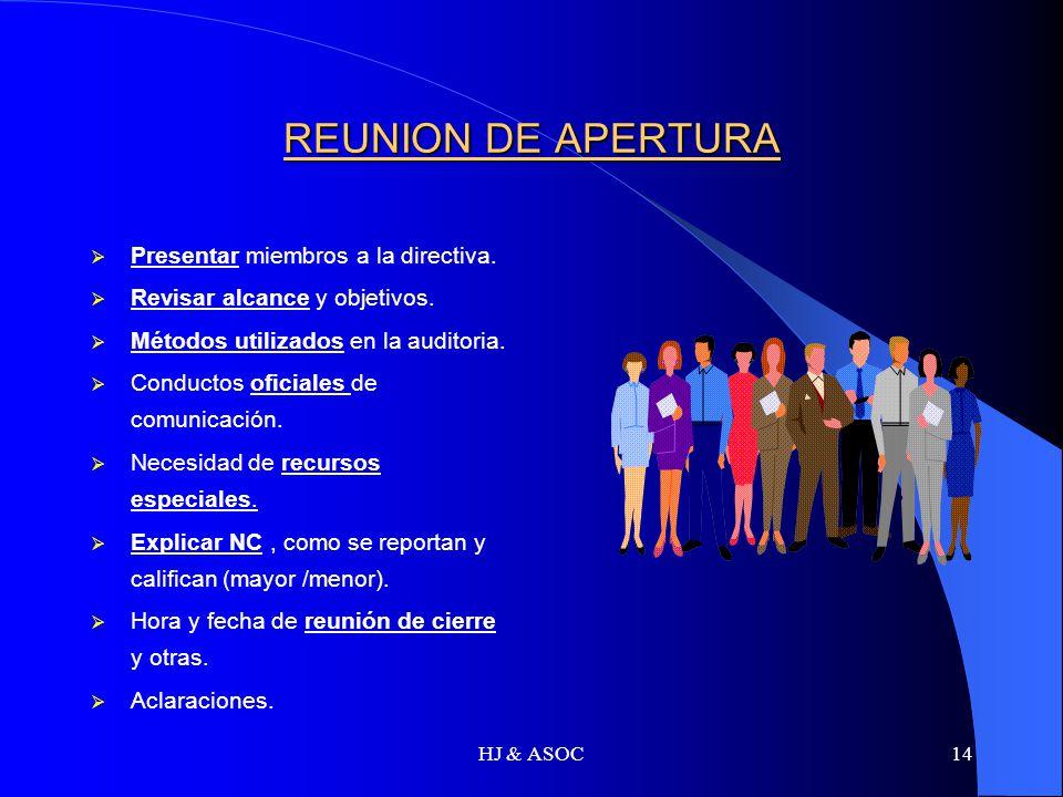 HJ & ASOC14 REUNION DE APERTURA Presentar miembros a la directiva. Revisar alcance y objetivos. Métodos utilizados en la auditoria. Conductos oficiale