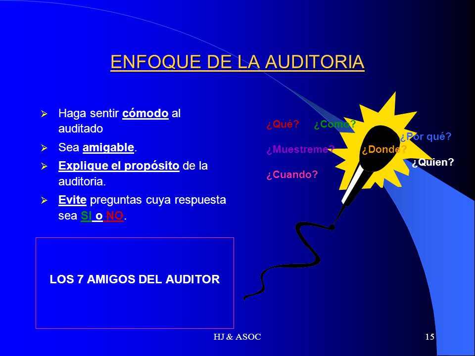 HJ & ASOC15 ENFOQUE DE LA AUDITORIA Haga sentir cómodo al auditado Sea amigable. Explique el propósito de la auditoria. Evite preguntas cuya respuesta