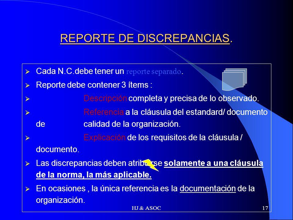 HJ & ASOC17 REPORTE DE DISCREPANCIAS. Cada N.C.debe tener un reporte separado. Reporte debe contener 3 ítems : Descripción completa y precisa de lo ob