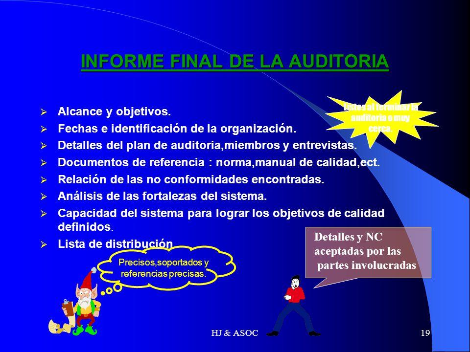 HJ & ASOC19 INFORME FINAL DE LA AUDITORIA Alcance y objetivos. Fechas e identificación de la organización. Detalles del plan de auditoria,miembros y e