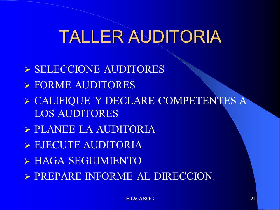 HJ & ASOC21 TALLER AUDITORIA SELECCIONE AUDITORES FORME AUDITORES CALIFIQUE Y DECLARE COMPETENTES A LOS AUDITORES PLANEE LA AUDITORIA EJECUTE AUDITORI