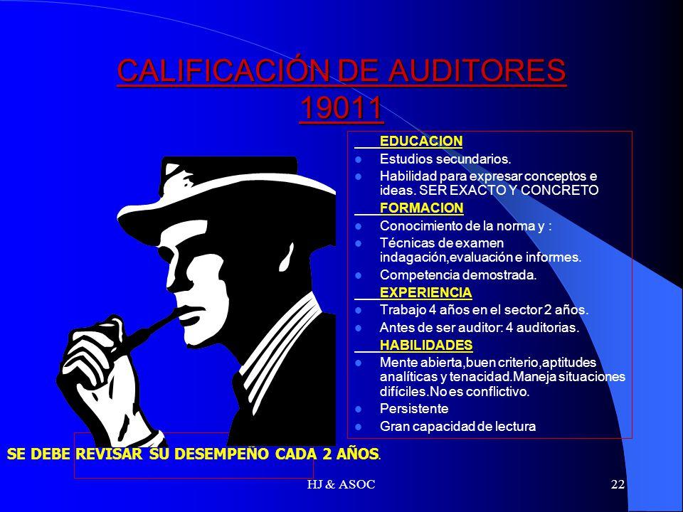 HJ & ASOC22 CALIFICACIÓN DE AUDITORES 19011 EDUCACION Estudios secundarios. Habilidad para expresar conceptos e ideas. SER EXACTO Y CONCRETO FORMACION