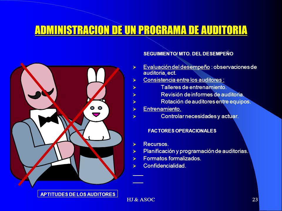 HJ & ASOC23 ADMINISTRACION DE UN PROGRAMA DE AUDITORIA SEGUIMIENTO/ MTO. DEL DESEMPEÑO Evaluación del desempeño : observaciones de auditoria, ect. Con