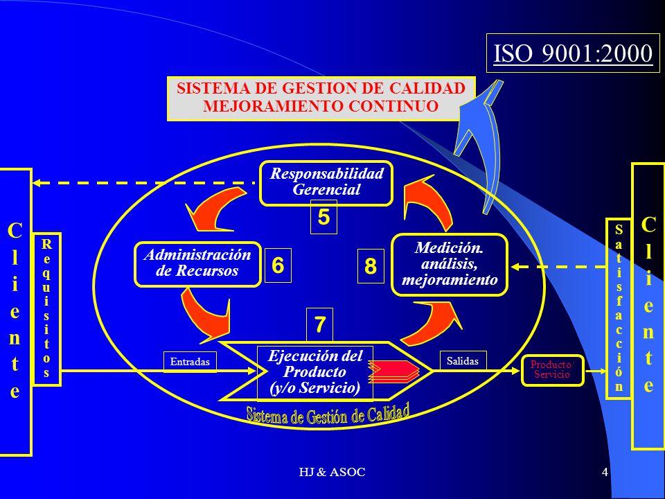 HJ & ASOC4 Entradas Salidas Responsabilidad Gerencial Administración de Recursos Medición. análisis, mejoramiento Ejecución del Producto (y/o Servicio