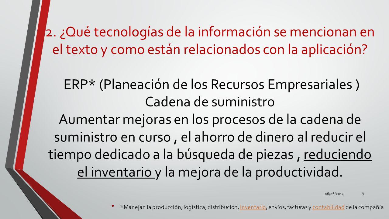 2. ¿Qué tecnologías de la información se mencionan en el texto y como están relacionados con la aplicación? ERP* (Planeación de los Recursos Empresari