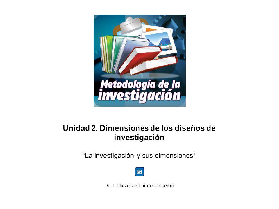 Unidad 2. Dimensiones de los diseños de investigación La investigación y sus dimensiones Dr. J. Eliezer Zamarripa Calderón