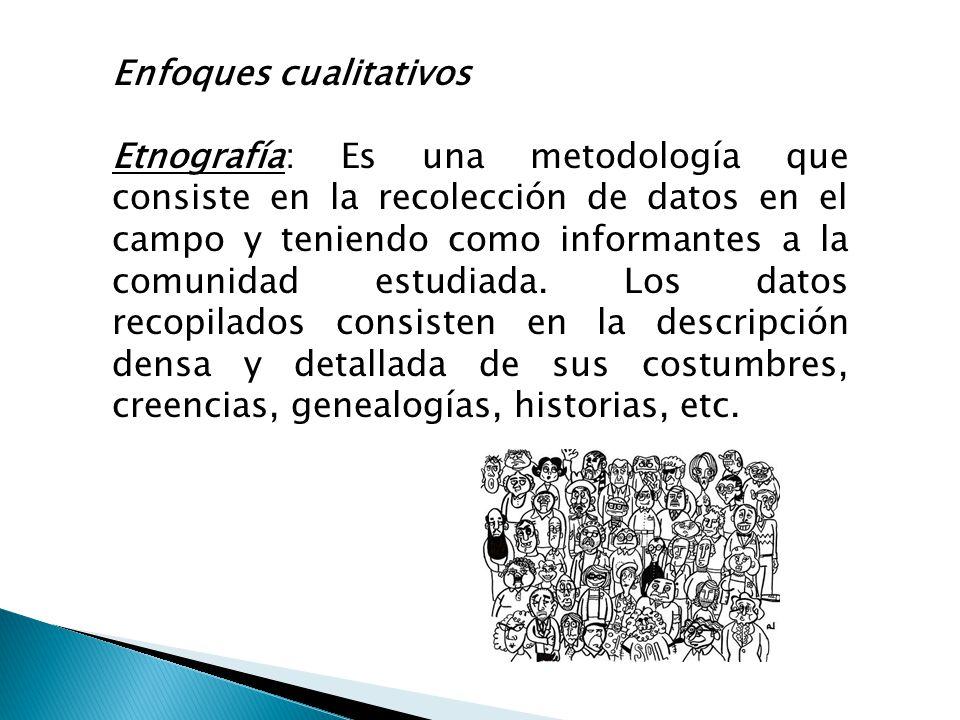 Enfoques cualitativos Etnografía: Es una metodología que consiste en la recolección de datos en el campo y teniendo como informantes a la comunidad es
