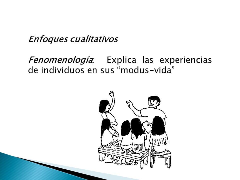 Enfoques cualitativos Fenomenología: Explica las experiencias de individuos en sus modus-vida