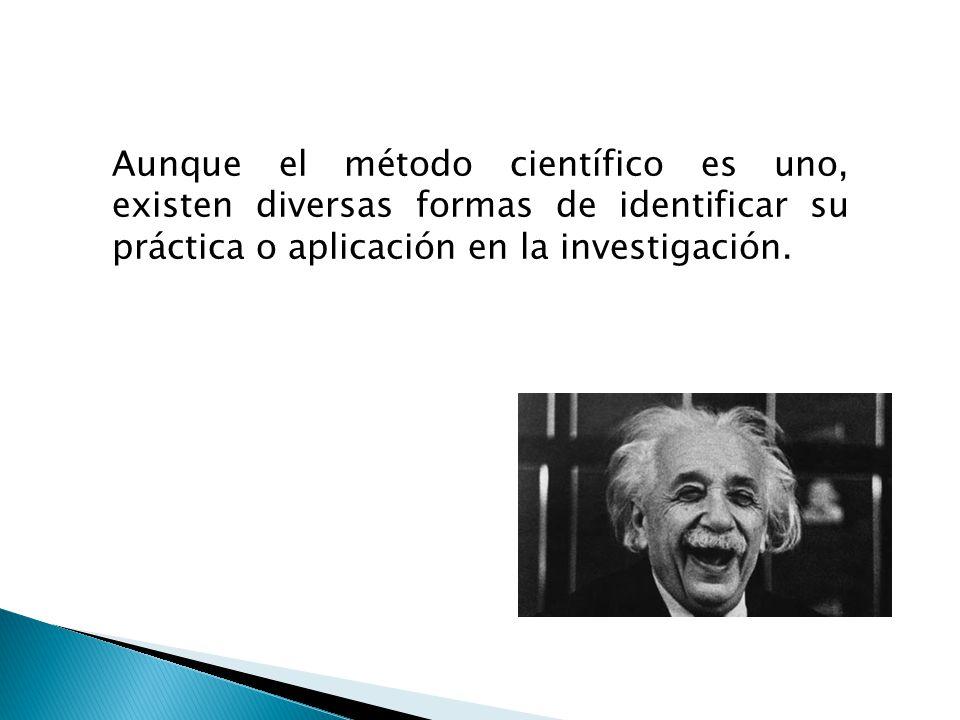 Aunque el método científico es uno, existen diversas formas de identificar su práctica o aplicación en la investigación.