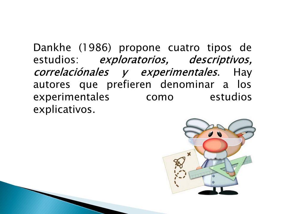 Dankhe (1986) propone cuatro tipos de estudios: exploratorios, descriptivos, correlaciónales y experimentales. Hay autores que prefieren denominar a l