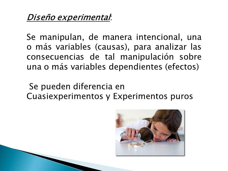 Diseño experimental: Se manipulan, de manera intencional, una o más variables (causas), para analizar las consecuencias de tal manipulación sobre una