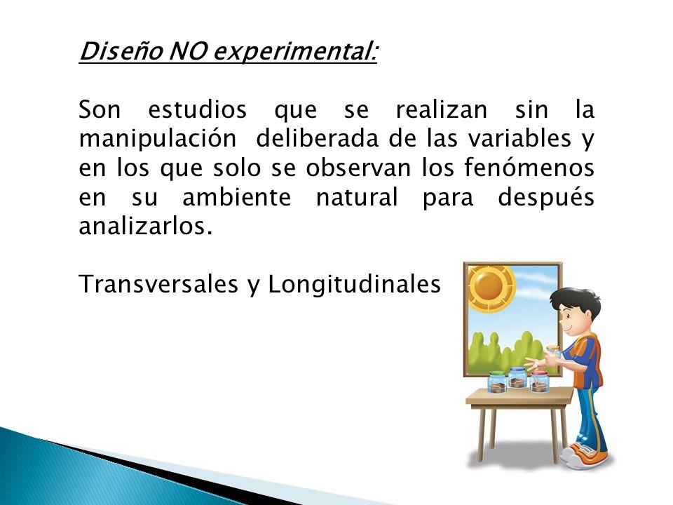 Diseño NO experimental: Son estudios que se realizan sin la manipulación deliberada de las variables y en los que solo se observan los fenómenos en su