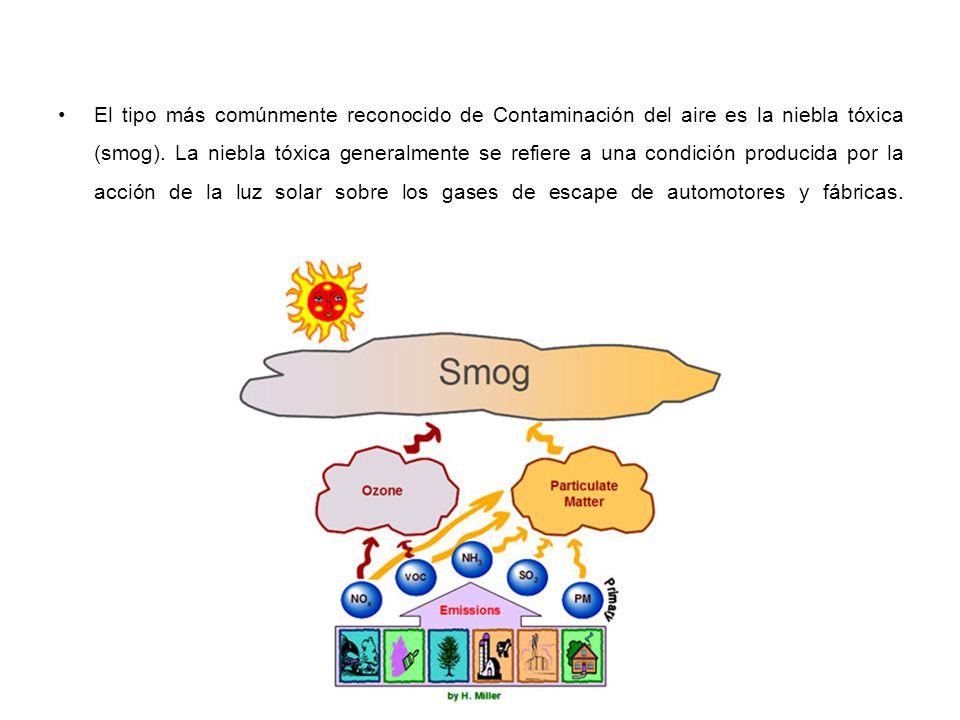 El tipo más comúnmente reconocido de Contaminación del aire es la niebla tóxica (smog). La niebla tóxica generalmente se refiere a una condición produ