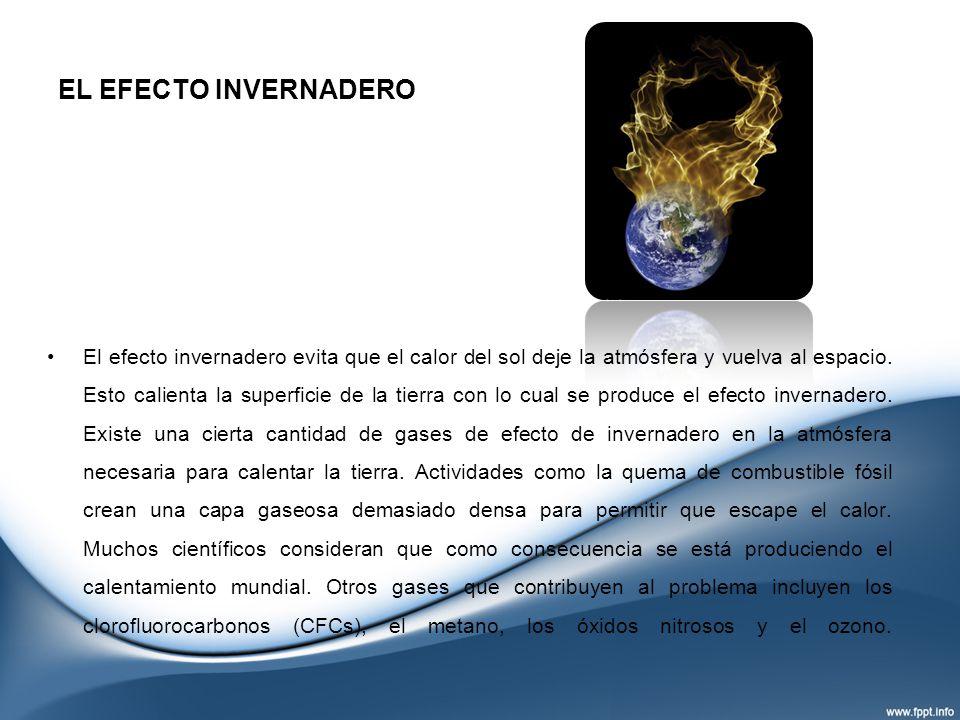 EL EFECTO INVERNADERO El efecto invernadero evita que el calor del sol deje la atmósfera y vuelva al espacio. Esto calienta la superficie de la tierra