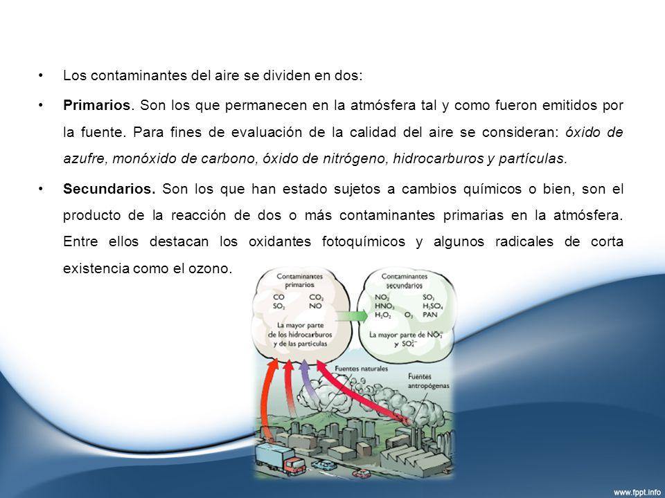 Los contaminantes del aire se dividen en dos: Primarios. Son los que permanecen en la atmósfera tal y como fueron emitidos por la fuente. Para fines d