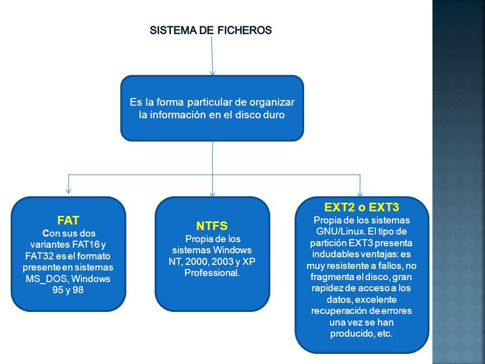 Es la forma particular de organizar la información en el disco duro FAT Con sus dos variantes FAT16 y FAT32 es el formato presente en sistemas MS_DOS,