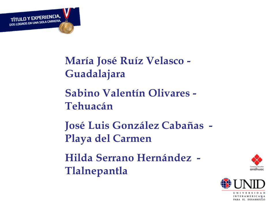 María José Ruíz Velasco - Guadalajara Sabino Valentín Olivares - Tehuacán José Luis González Cabañas - Playa del Carmen Hilda Serrano Hernández - Tlalnepantla 3