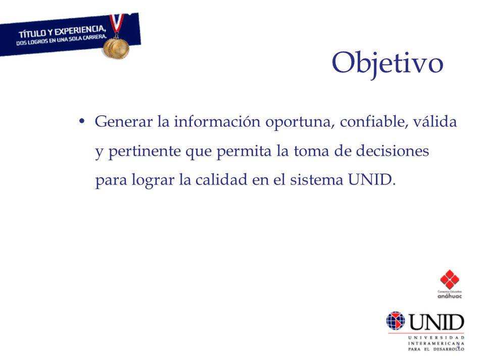 4 Objetivo Generar la información oportuna, confiable, válida y pertinente que permita la toma de decisiones para lograr la calidad en el sistema UNID.