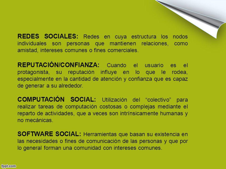 REDES SOCIALES: Redes en cuya estructura los nodos individuales son personas que mantienen relaciones, como amistad, intereses comunes o fines comerciales.