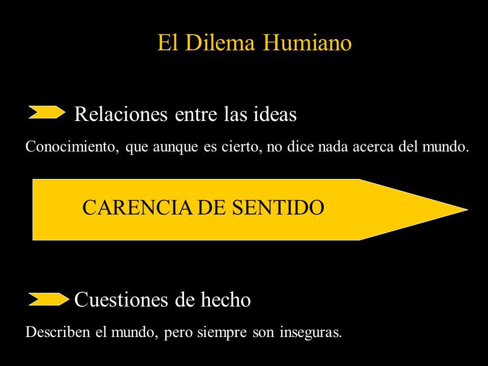 El Dilema Humiano Relaciones entre las ideas Conocimiento, que aunque es cierto, no dice nada acerca del mundo. CARENCIA DE SENTIDO Cuestiones de hech