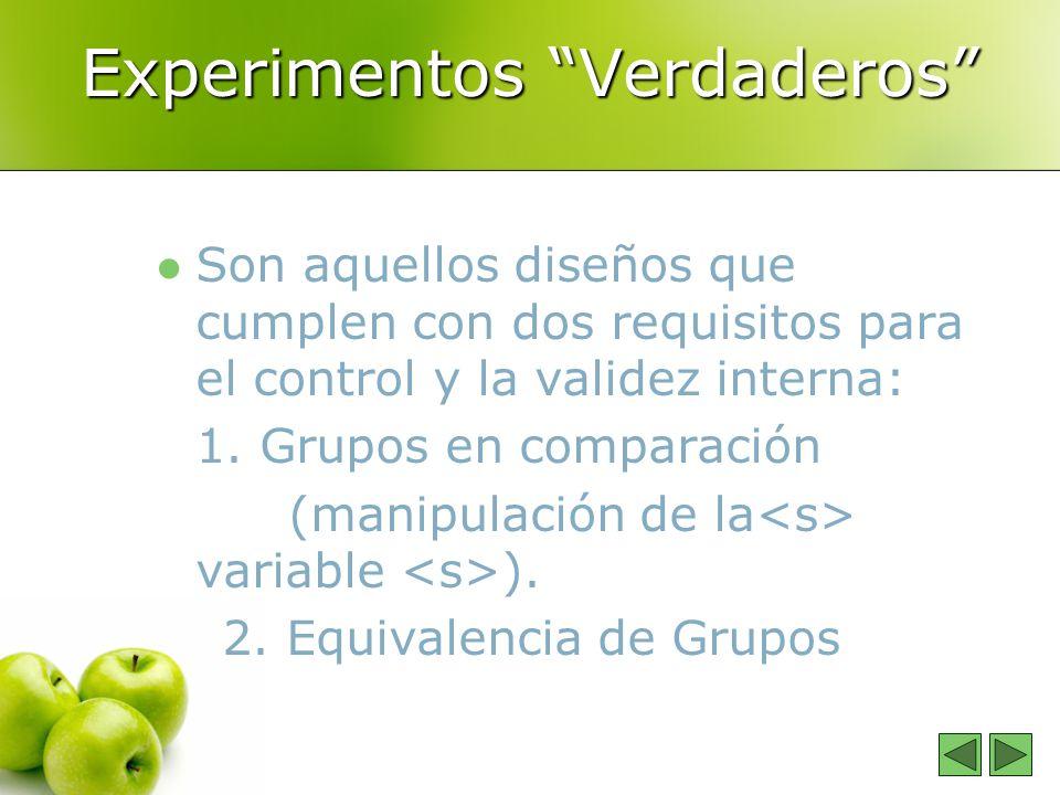 Experimentos Verdaderos Son aquellos diseños que cumplen con dos requisitos para el control y la validez interna: 1. Grupos en comparación (manipulaci