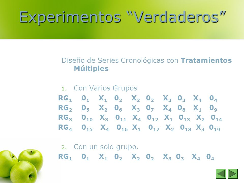 Experimentos Verdaderos Diseño de Series Cronológicas con Tratamientos Múltiples 1. Con Varios Grupos RG 1 0 1 X 1 0 2 X 2 0 2 X 3 0 3 X 4 0 4 RG 2 0