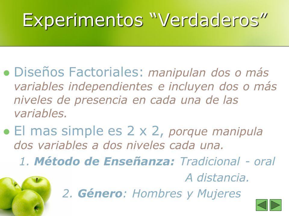 Experimentos Verdaderos Diseños Factoriales: manipulan dos o más variables independientes e incluyen dos o más niveles de presencia en cada una de las variables.