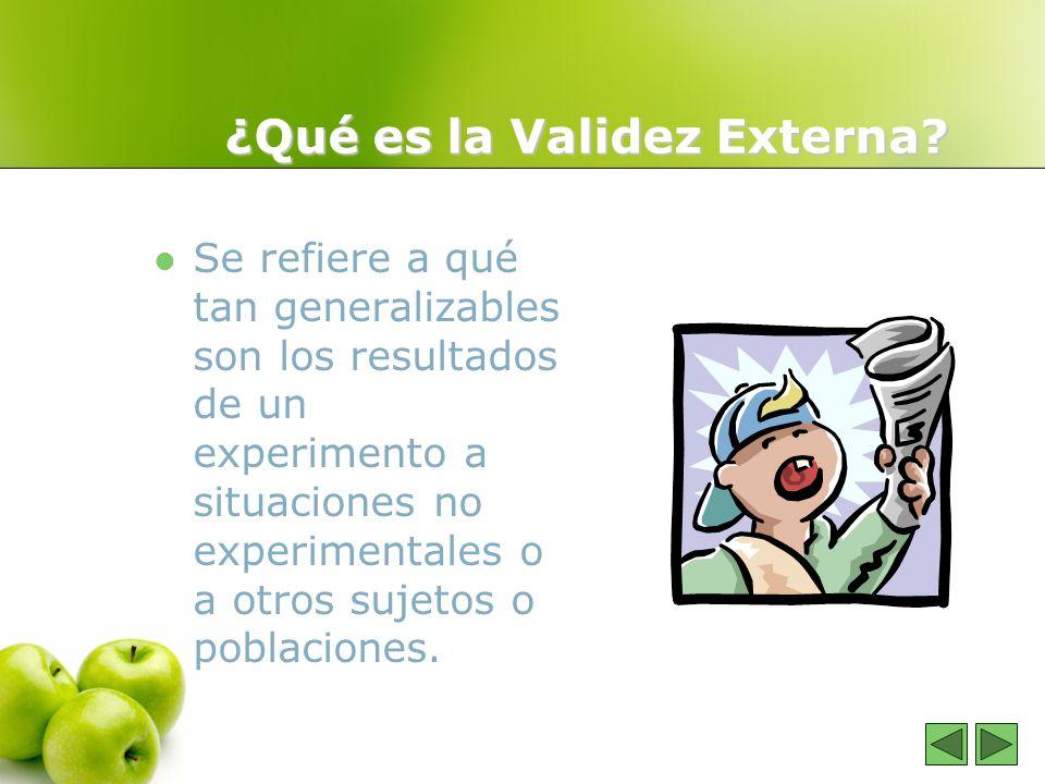 ¿Qué es la Validez Externa? Se refiere a qué tan generalizables son los resultados de un experimento a situaciones no experimentales o a otros sujetos