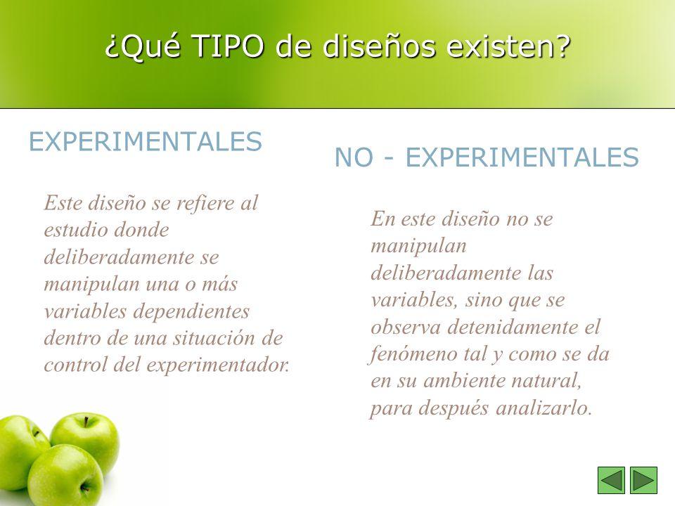 ¿Qué TIPO de diseños existen? EXPERIMENTALES NO - EXPERIMENTALES Este diseño se refiere al estudio donde deliberadamente se manipulan una o más variab