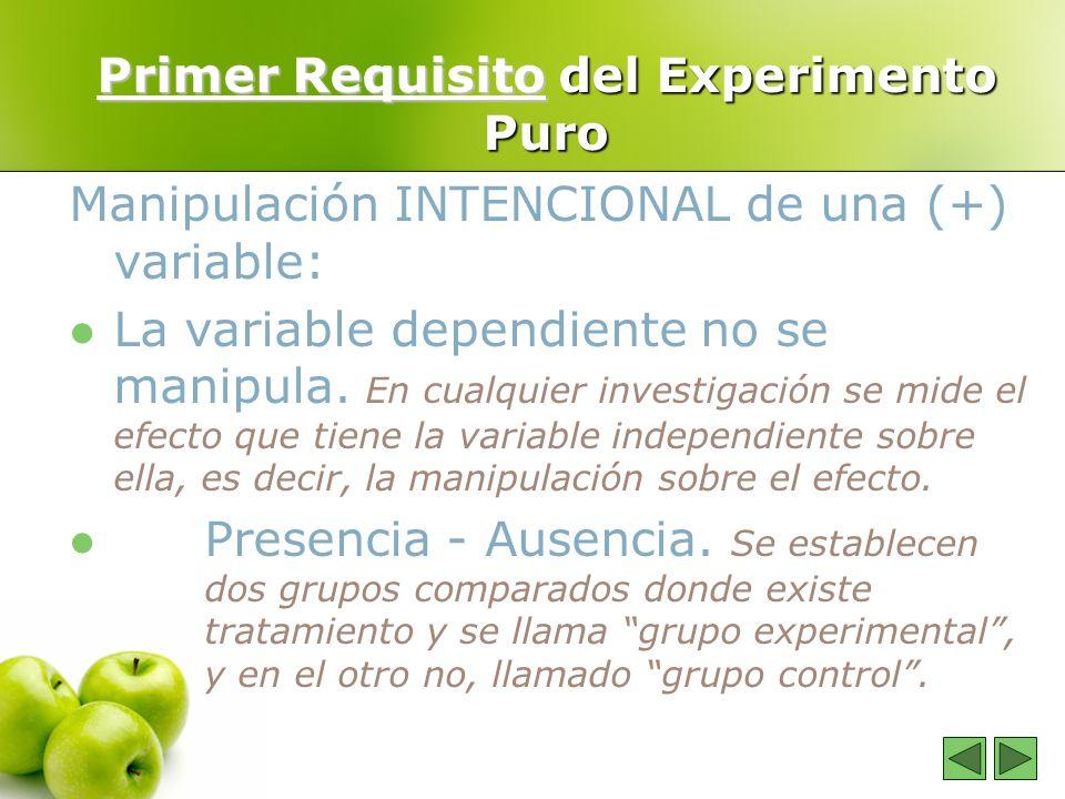 Primer Requisito del Experimento Puro Manipulación INTENCIONAL de una (+) variable: La variable dependiente no se manipula. En cualquier investigación