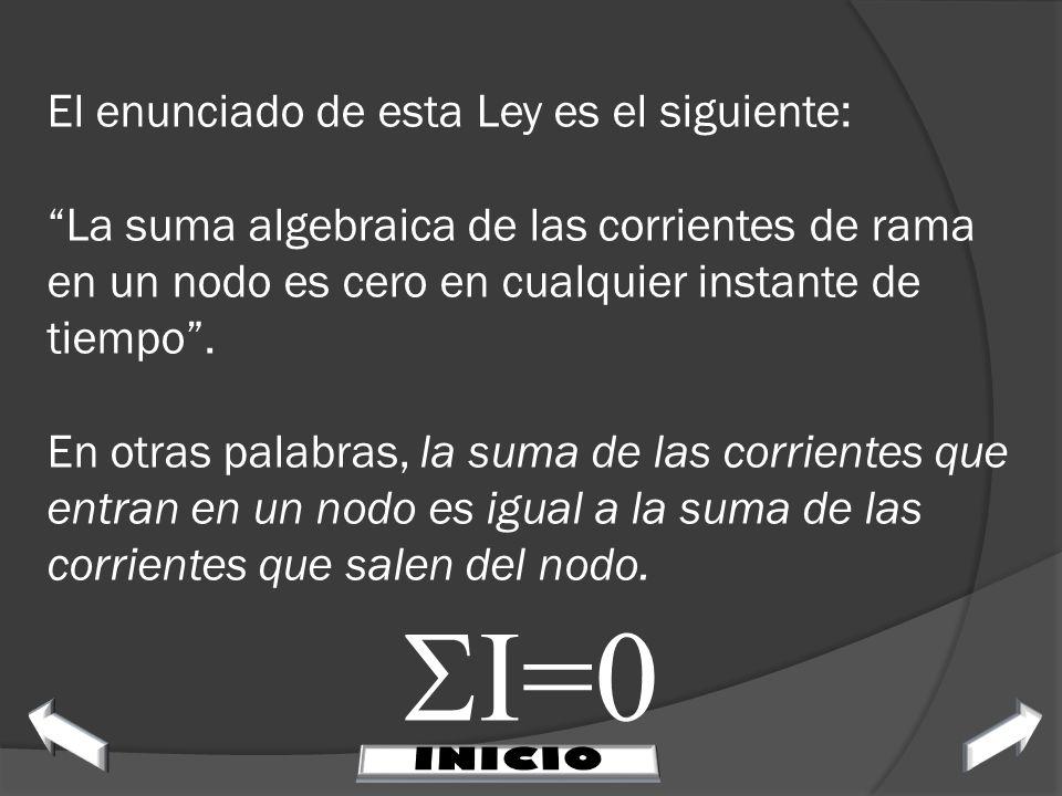 El enunciado de esta Ley es el siguiente: La suma algebraica de las corrientes de rama en un nodo es cero en cualquier instante de tiempo. En otras pa